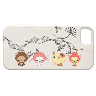 kawaii animals on vintage wrinkled old paper iPhone 5 case