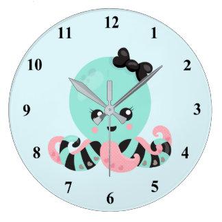 Kawaii Art Octopus Design Large Clock