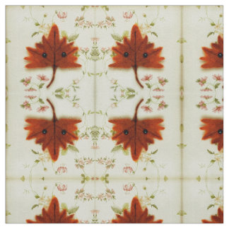 Kawaii Autumn Leaf Floral on Cotton Twill Fabric