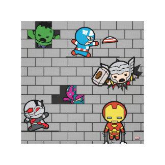Kawaii Avengers Brick Wall Pattern Canvas Print