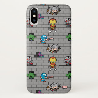 Kawaii Avengers Brick Wall Pattern iPhone X Case