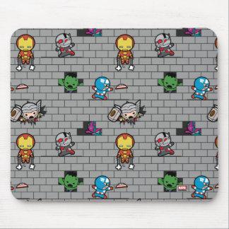 Kawaii Avengers Brick Wall Pattern Mouse Pad