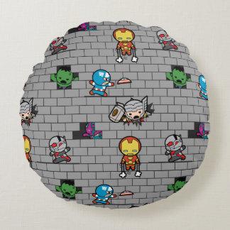 Kawaii Avengers Brick Wall Pattern Round Pillow