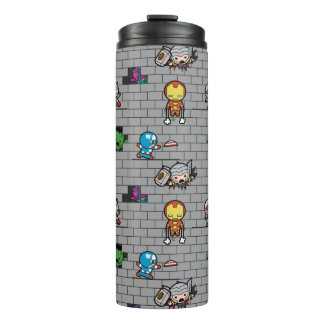 Kawaii Avengers Brick Wall Pattern Thermal Tumbler