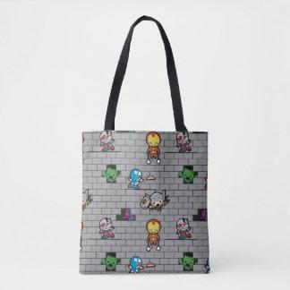 Kawaii Avengers Brick Wall Pattern Tote Bag