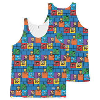 Kawaii Avengers In Colorful Blocks All-Over-Print Tank Top