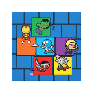 Kawaii Avengers In Colorful Blocks Canvas Print