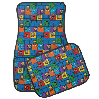Kawaii Avengers In Colorful Blocks Car Mat