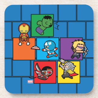 Kawaii Avengers In Colorful Blocks Coaster