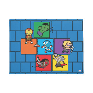 Kawaii Avengers In Colorful Blocks Doormat