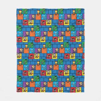 Kawaii Avengers In Colorful Blocks Fleece Blanket