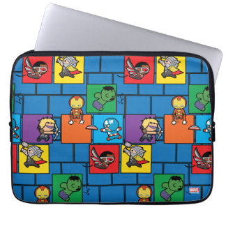 Kawaii Avengers In Colorful Blocks Laptop Sleeve