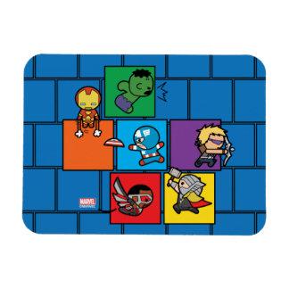 Kawaii Avengers In Colorful Blocks Magnet