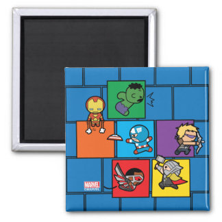 Kawaii Avengers In Colorful Blocks Magnet