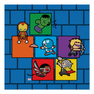 Kawaii Avengers In Colorful Blocks Poster