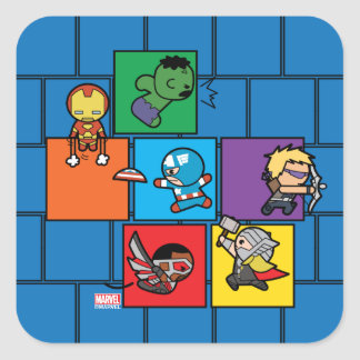 Kawaii Avengers In Colorful Blocks Square Sticker
