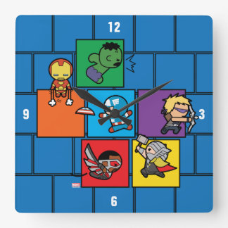 Kawaii Avengers In Colorful Blocks Square Wall Clock