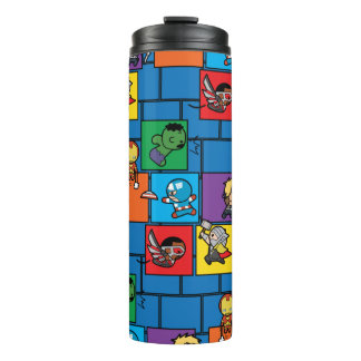 Kawaii Avengers In Colorful Blocks Thermal Tumbler