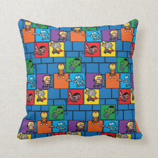 Kawaii Avengers In Colorful Blocks Throw Pillow