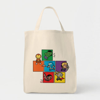 Kawaii Avengers In Colorful Blocks Tote Bag