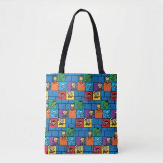 Kawaii Avengers In Colorful Blocks Tote Bag