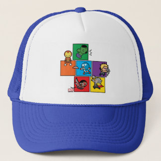 Kawaii Avengers In Colorful Blocks Trucker Hat