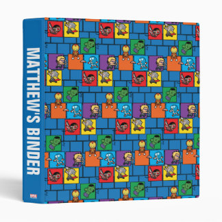 Kawaii Avengers In Colorful Blocks Vinyl Binder