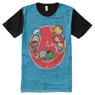 Kawaii Avengers Inside A-Logo All-Over-Print T-Shirt