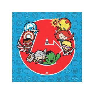 Kawaii Avengers Inside A-Logo Canvas Print