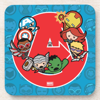 Kawaii Avengers Inside A-Logo Coaster