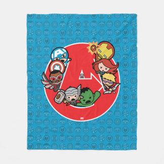 Kawaii Avengers Inside A-Logo Fleece Blanket