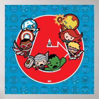 Kawaii Avengers Inside A-Logo Poster
