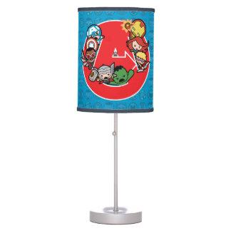 Kawaii Avengers Inside A-Logo Table Lamp