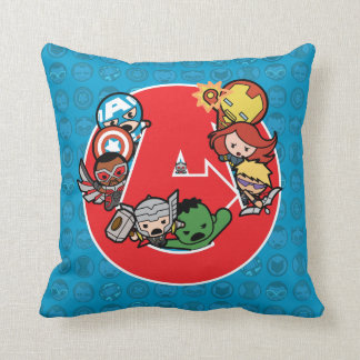 Kawaii Avengers Inside A-Logo Throw Pillow