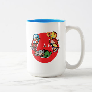 Kawaii Avengers Inside A-Logo Two-Tone Coffee Mug