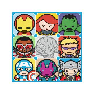 Kawaii Avengers Vs Ultron Pattern Canvas Print