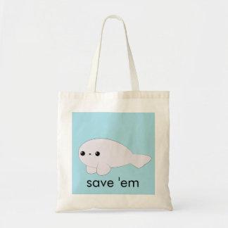 Kawaii baby seal 'save 'em' tote