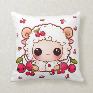 Kawaii baby sheep and cute cherries throw pillow