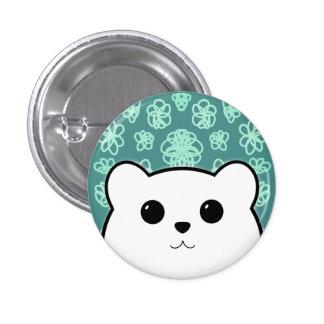 Kawaii Bear and Flowers (Polar Bear) 1 Inch Round Button