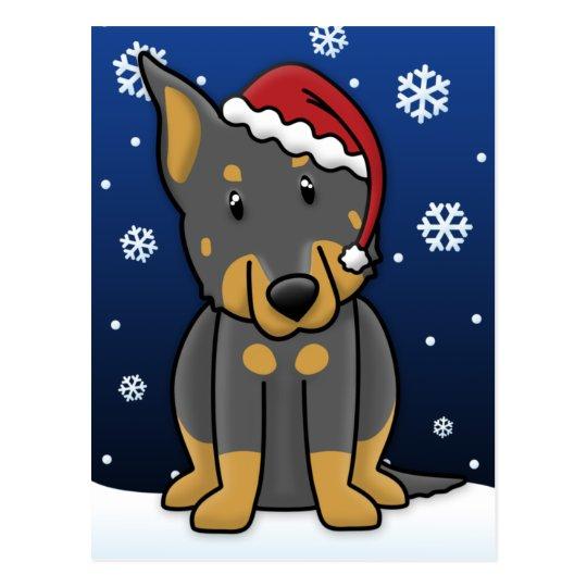 Kawaii Beauceron Christmas Postcard