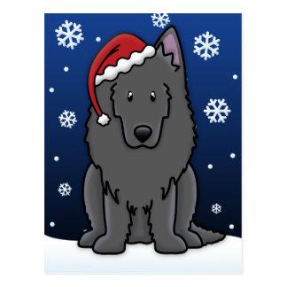 Kawaii Belgian Sheepdog Christmas Postcard