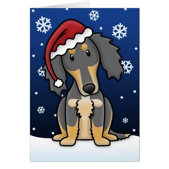 Kawaii Black and Tan Saluki Christmas Card