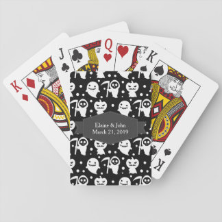 Kawaii Black and White Halloween Playing Cards