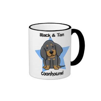 Kawaii Black & Tan Coonhound Coffee Mugs