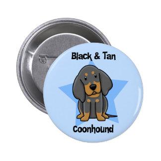 Kawaii Black Tan Coonhound Pinback Button