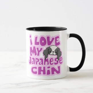 Kawaii Blk I Love My Japanese Chin Mug