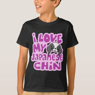 Kawaii Blk I Love My Japanese Chin T-Shirt