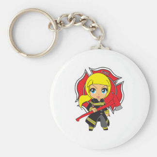 Kawaii Blonde Firefighter Girl Basic Round Button Keychain