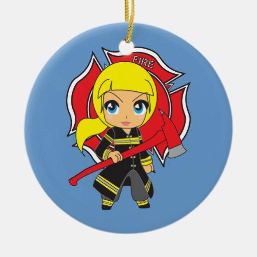 Kawaii Blonde Firefighter Girl Ornament