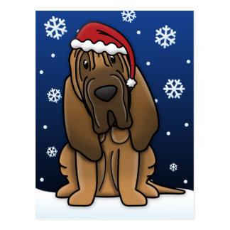 Kawaii Bloodhound Christmas Postcard